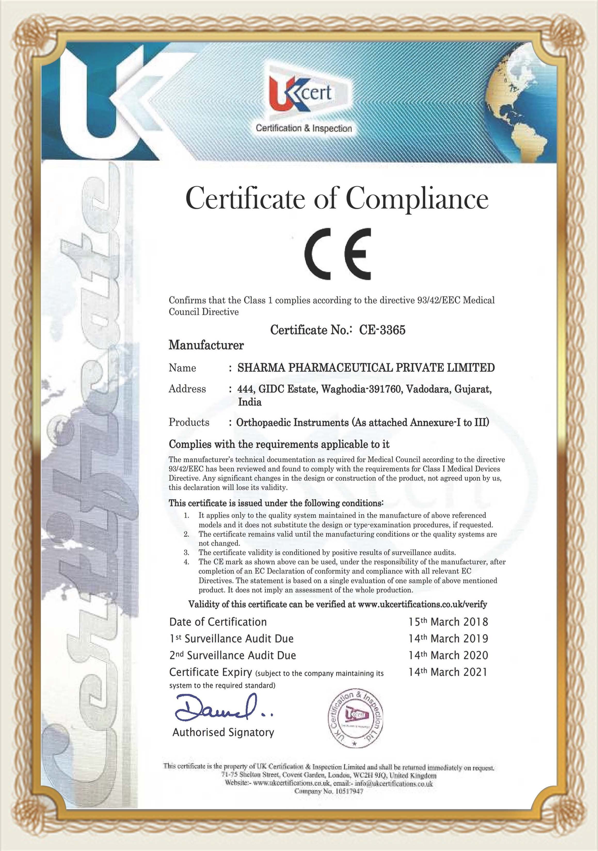 Certificate In Orthopedic Implants Manufacturers
